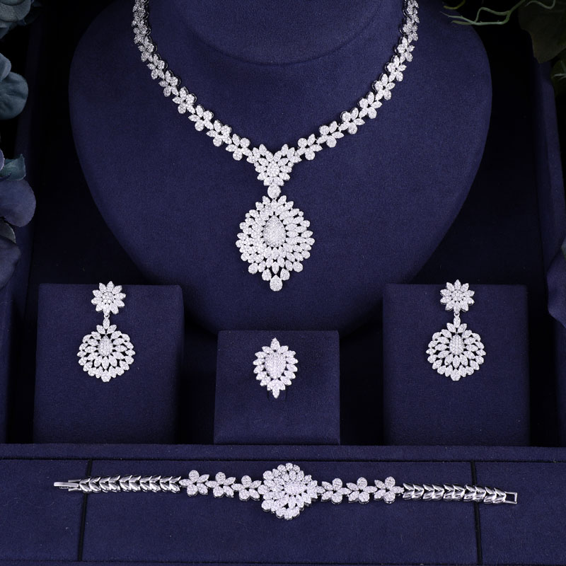 jankelly Hotsale African 4pc Bridal Jewelry Sets New Fashion Dubai Necklace Sets For Women Wedding Party jankelly Hotsale African 4pc Bridal Jewelry Sets New Fashion Dubai Necklace Sets For Women Wedding Party Accessories Design