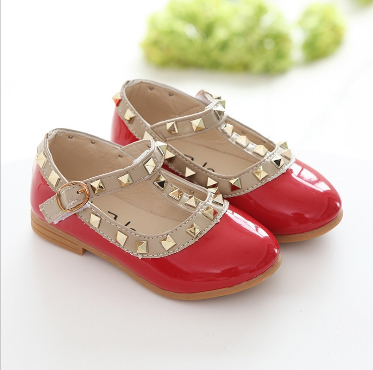 New Fashion Children Lady Girls Princess Shoes PU Leather toddler baby Low-heel Kids mary jean Shoes Rivets Sneakers 6