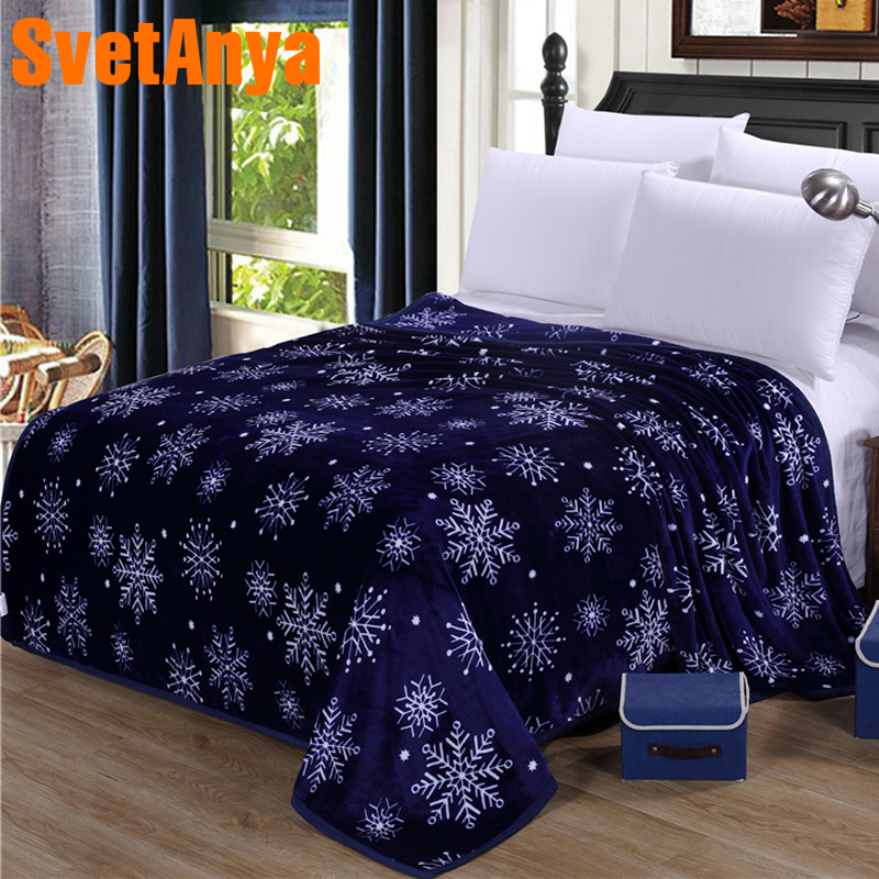 Svetanya 230x250cm Snowflake Print Throws Blanket Fleece Fabric Sheet Bedspread Multi-Size Blue Double-face