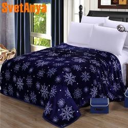 Svetanya 230x250cm Snowflake Print Throws Blanket Fleece Fabric Sheet Bedspread Multi-Size Blue Double-face