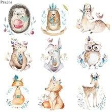 Prajna Jungle Animal Iron on Patch Cartoon Rabbit Heat Transfer Vinyl Sticker Cute Deer Patches For Kids Clothing DIY T-Shirt