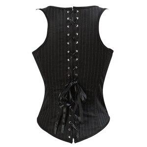 Image 2 - Caudatus corsé bajo el pecho, corsés brocados sexys, bustier con correas, burlesque a rayas de talla grande, black korsett