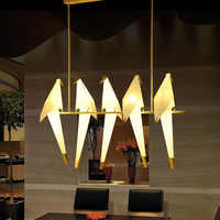 Lámpara colgante moderna de Metal con grúa de papel, lámpara colgante con diseño de pájaro LED para sala de niños y restaurante