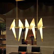 Lustre de papel moderno suspenso, lustre vintage de metal com guindaste, luz suspensa, restaurante, sala de jantar, quarto infantil, design de pássaro, lâmpada pingente