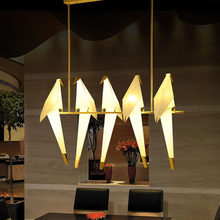 Modern Paper Crane Metal Vintage Chandelier Hanging Light Restaurant Living Dining Children's Room LED Bird Design Pendant Lamp(China)