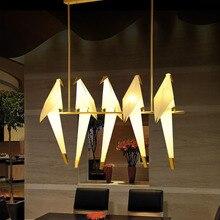 Moderna grúa de papel lámpara colgante de araña clásica de Metal para restaurante sala de estar comedor para niños lámpara colgante con diseño de aves LED