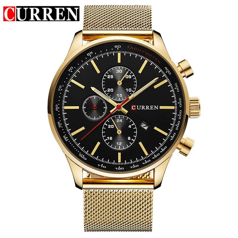 CURREN men wrist Watches Top Brand Luxury Mesh Band Watch Ultra Thin Dial black Designer Quartz Wristwatch reloj hombre 2019 new in Quartz Watches from Watches