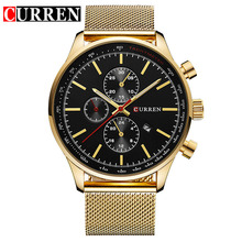 CURREN Dress men Watches Top Brand Luxury Mesh Band Watch Ultra Thin Dial black Designer Quartz Wristwatch reloj hombre 2016 ultra thin dial business men quartz watch with alloy mesh band black and white dial with date display men s luxury wrist watches
