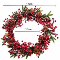 10pcs 45cm Red Berries Rattan Christmas Wreath Garland Decoration Red Wreath Hanging Christmas Decoration high quality