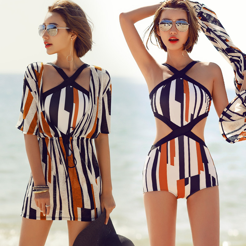 2018 Sexy One Piece Swimsuit Dress Striped Printed High Waist Swimwear Women Cut Out Bodysuit Bathing Suits Monokinis fashionable strappy printed cut out one piece swimsuit for women