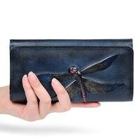 Panie Prawdziwej Skóry Portfele Długo Projektowanie Kobiet Torebka W Stylu Vintage Kobiety Pieniądze Clutch Bag Top Skórzany Portfel carteira feminina