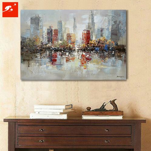 Downtown New York City Oil Painting On Canvas Urban Skyline Pictures For  Cafe Industrial Wall Art Decoration In Livingroom In Painting U0026 Calligraphy  From ...