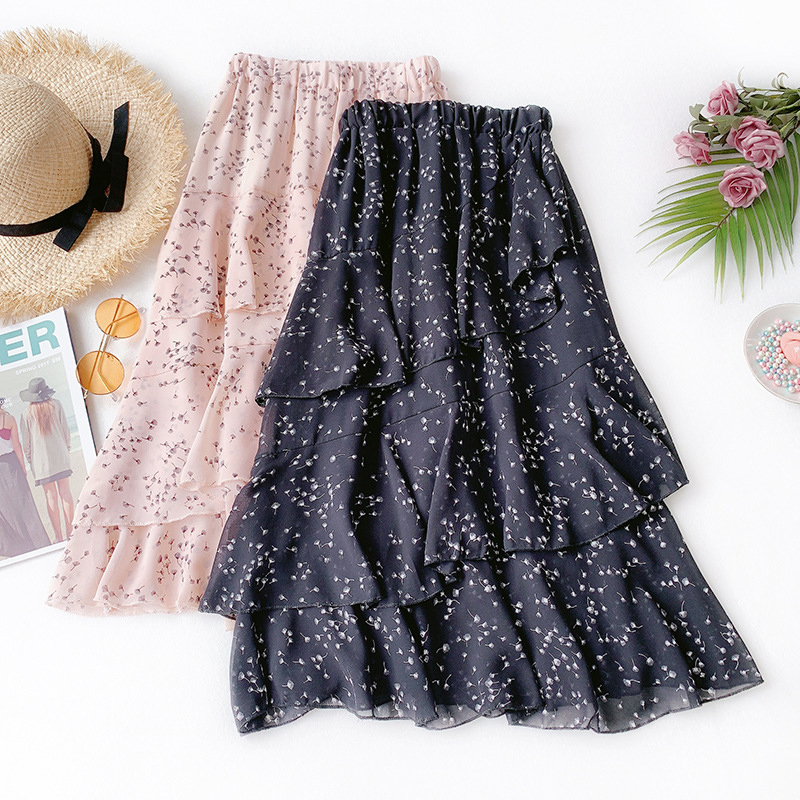 2019 Floral Skirt Female New Fresh Sweet Dandelion High Waist Was Thin A Word Long Skirt Chiffon Cake Skirt Summer Number 3