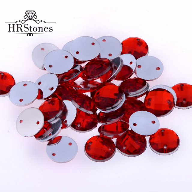 2 Holes 8mm 10mm 12mm 14mm Superior Taiwan Red Acrylic Sew On Rhinestones  Flat Back Round Stones For Dress Decorations 3c2b3cd79525