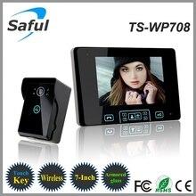 7 «TFT Видео Домофон, 2.4 ГГц Цифровой Беспроводной Телефон Двери Системы с 1 Дверной Звонок Монитор Камеры Беспроводной Дверной Звонок бесплатная Доставка