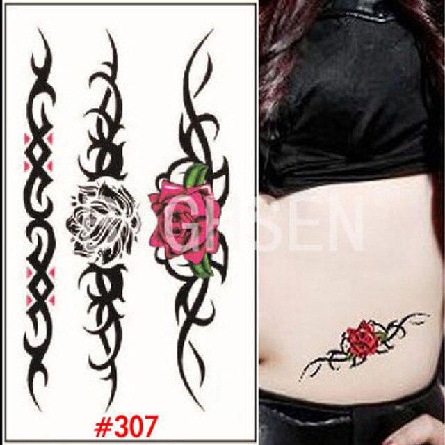 temporaire faux tatoo autocollants pour ventre tatouage petit rose de tatouage pochoir couleur. Black Bedroom Furniture Sets. Home Design Ideas
