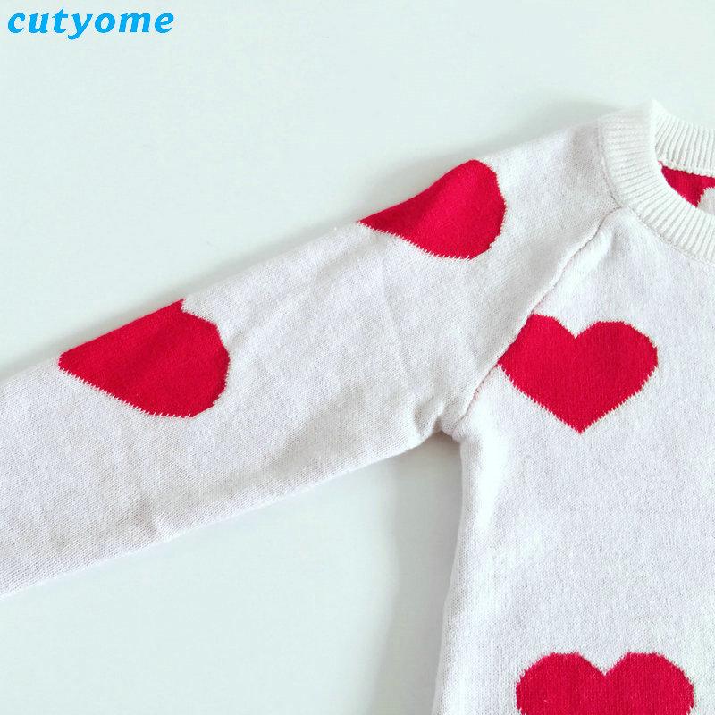 Baby Girls Sweater Heart Pattern Knitted Kids Christmas Cardigan ...