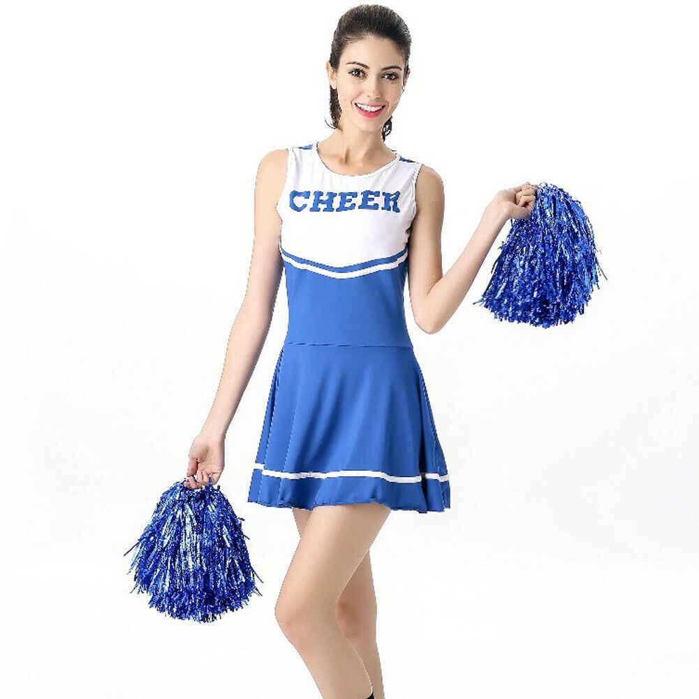 Damen Cheerleader Kostüm Schule Mädchen Outfits Fancy Kleid Jubeln Führer Uniform