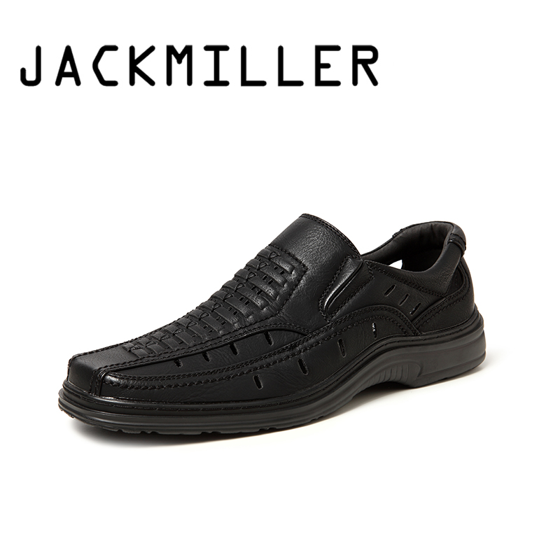 Jackmiller Top Brand Summer Hot Sale Sandals Men Super Light Comfortable Men Sandals Breathable Slip-On Men Shoes Black & Beige