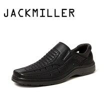 Jackmiller Zomer Hot Koop Sandalen Mannen Super Licht Comfortabele Mannen Sandalen Ademende Slip On Mannen Schoenen Solid Black Side goring