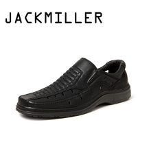 Jackmiller summer hot sale sandals men super light comfortable men sandals breathable slip on men shoes solid black side goring