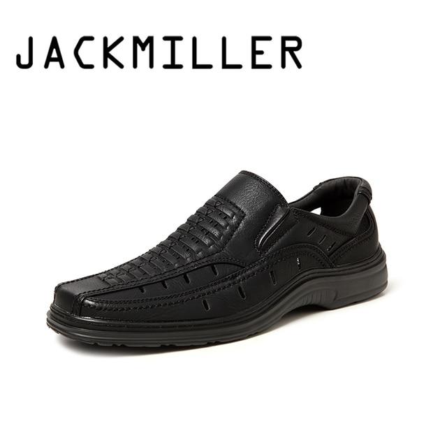 Jackmiller summer hot sale sandals men super light comfortable men sandals breathable slip on men shoes solid black side goring