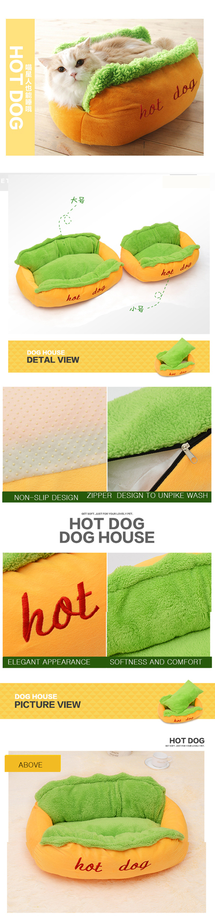 Hot Dog Bed Pet Cute Dog Beds For Small Dogs Warm Cat Sofa Cushion Soft Pet Sleeping Bag Pet Mat Funny Hot Dog Cushion 12
