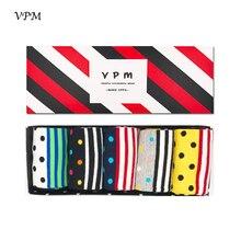 VPM 5 Pairs Lot Eu 39 45 Cotton Men Crew Dress Socks Colorful Dots Stripe Happy