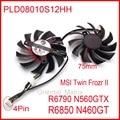 2 unids/lote PLD08010S12HH DC 12 V 0.35A 75mm ventilador para MSI R6790 N560GTX R6850 N460GT Twin frozr II gráficos ventilador de la tarjeta video