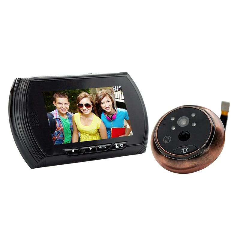 43AHD-M Free Shipping 3.5 Inch TFT Screen Video Door Cat Eye Motion Detection Intelligent Peephole W/Widen Viewing Angle Black h 264 1080p door eye hd ahd peephole