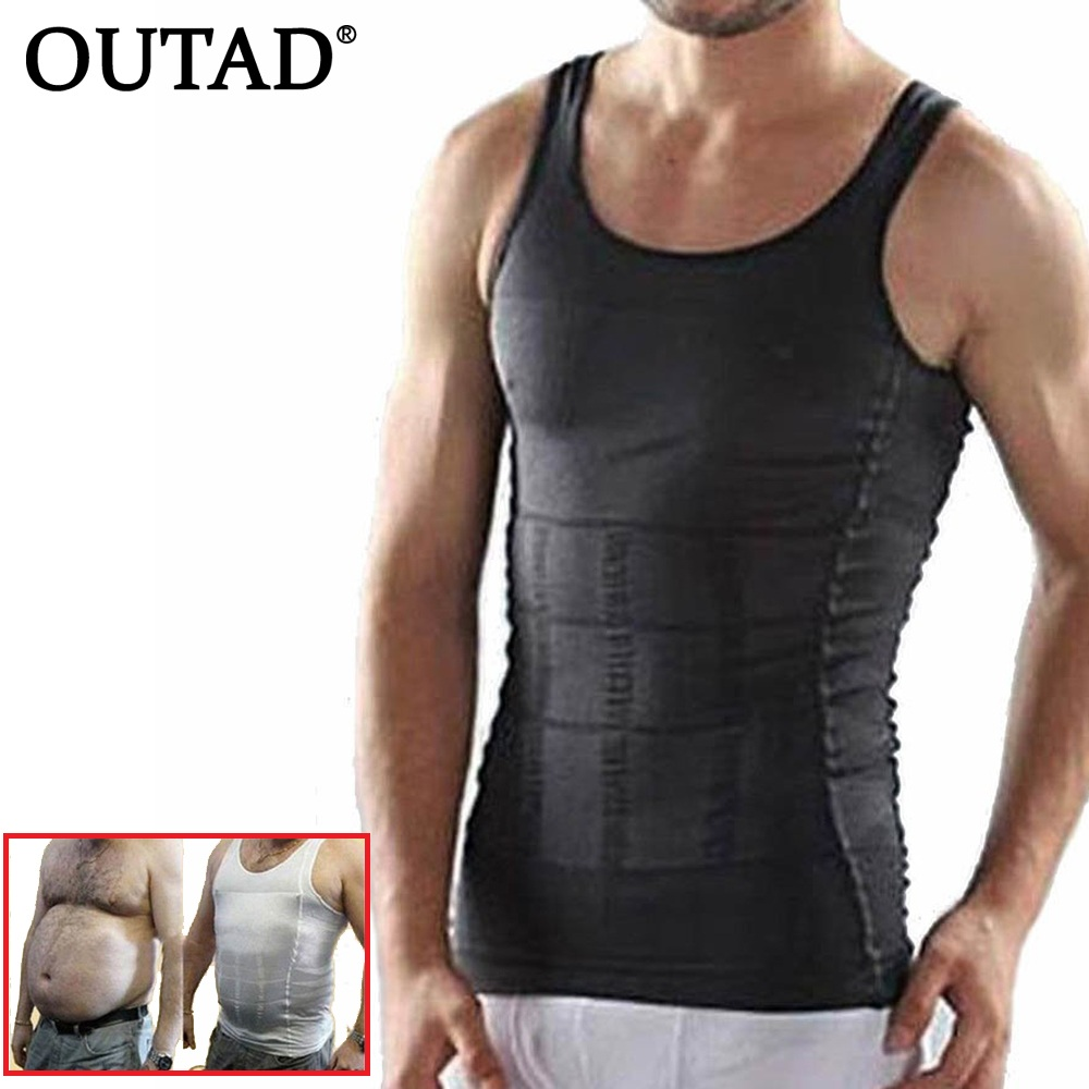 OUTAD Men Corset Body Slimming Tummy Shaper Running Vest Belly Waist Girdle Shirt Black Shapewear Underwear Waist Girdle Shirts steel boned brocade corset vest