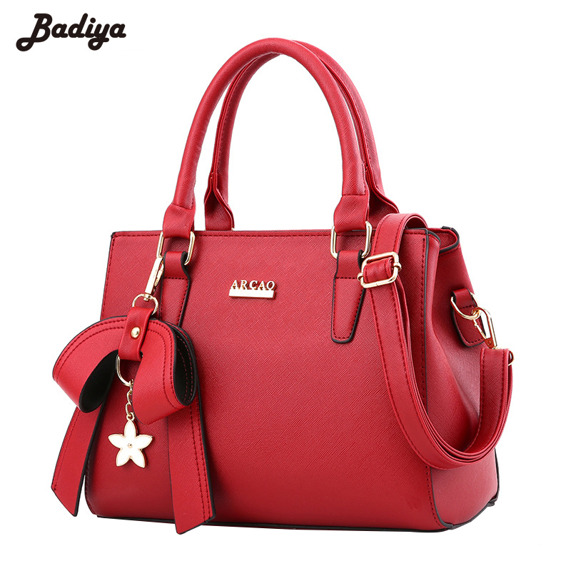 ФОТО Large Capacity Ladies Tote Bag For Woman Solid Bow Women Shoulder Bag High Quality PU Leather Crossbody Bags