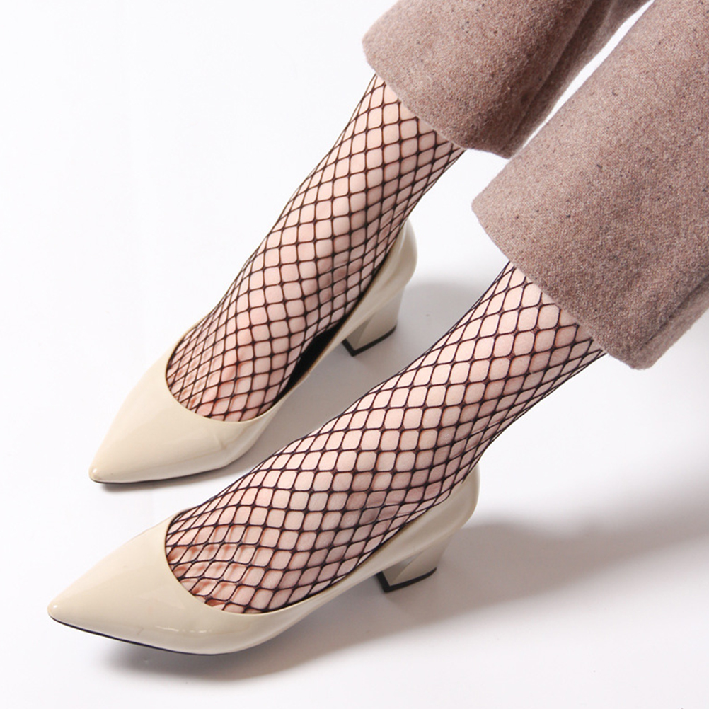 1Pair Harajuku Solid Black Breathable Fishnet Socks Cool Female Sexy Nets Socks Women Ladies Girls High Heels