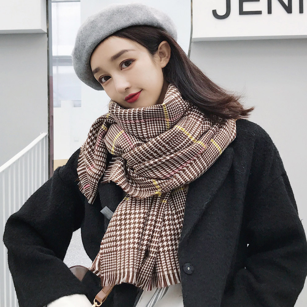 2018 Winter Special Design Tassels Thousand Birds Keep Warm Rectangle Scarf Air Conditioner Cashmere Shawl