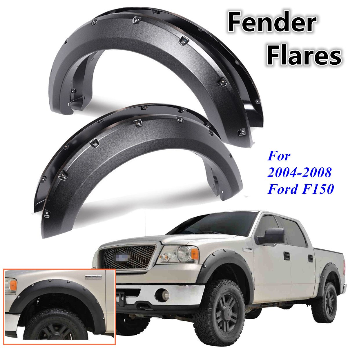 4Pcs Car Rivet Style Side for Fender Mudguard Wheel Flares For Ford F150 2004 2005 2006 2007 2008 1 pair new white front for fender flares for toyota hilux 2005 2006 2007 2008 2009 2010 2011 for fender fares