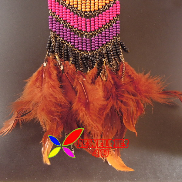 Brown Feather and Tassel Book Mark#13WE15B