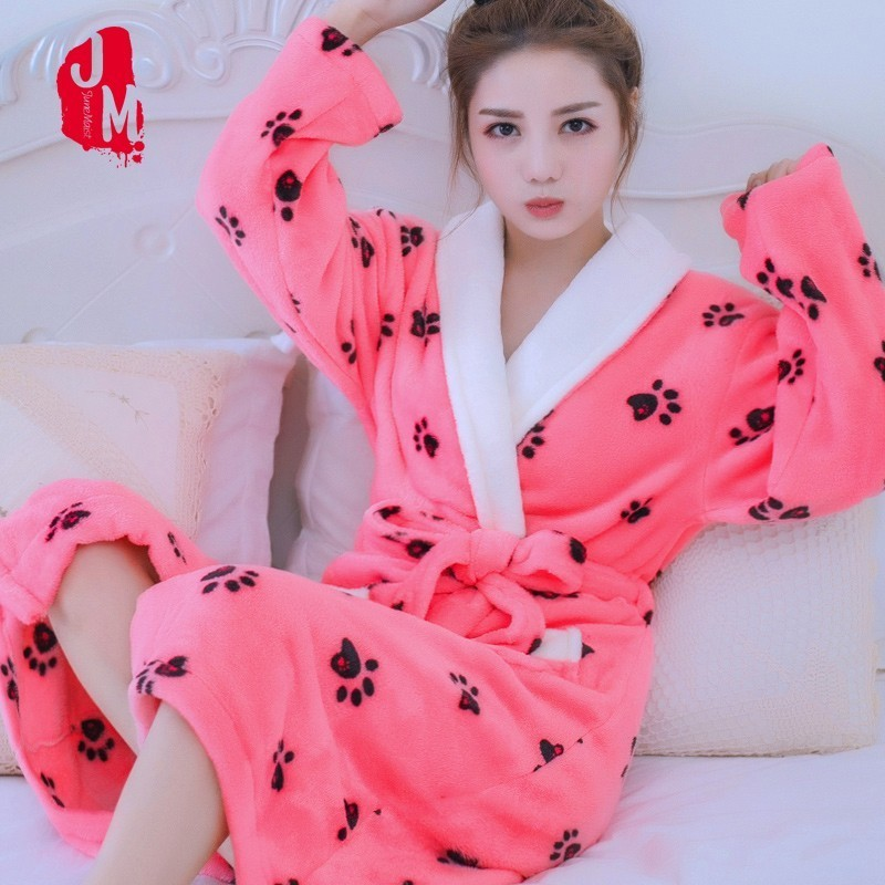 Soft Robe Womens Bathrobe Winter Warm Coral Fleece Women's Bathrobe Nightgown Kimono Floral Dressing Gown Sleepwear Home Clothes