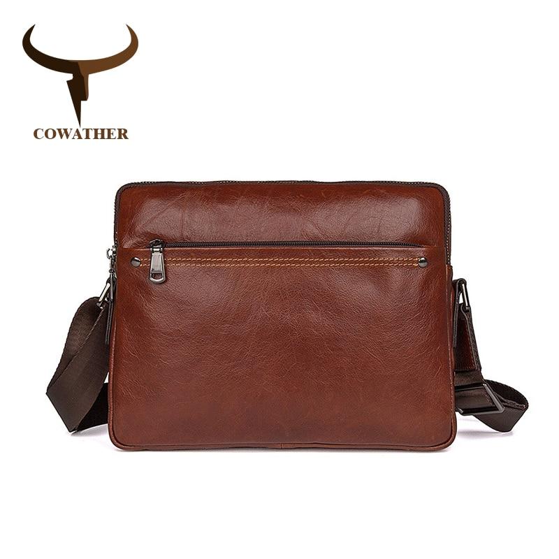 COWATHER Men messenger bags top cow genuine leather luxury men Handbag high quality shoulder bag casual
