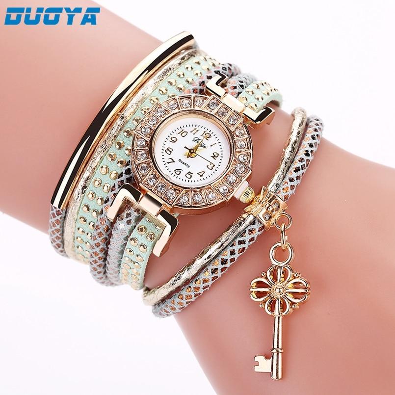 Duoya New Fashion Women Bracelet Watch Gold Quartz Gift Watch Wristwatch Women Dress Leather Casual Bracelet Watches Dropship