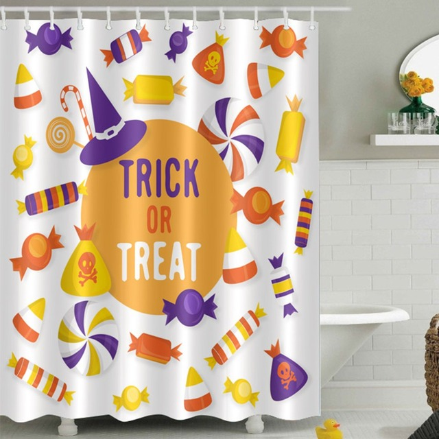 LB 180180 Waterproof Scary Candy Halloween Trick Treat Shower Curtains Polyester Bathroom Curtain Fabric For Bathtub Home Decor