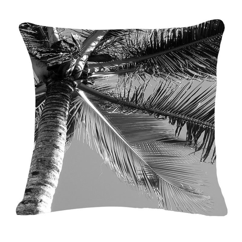 new grey black white tropic tree cushion cover cotton linen throw pillow cover cushion case sofa bed decorative pillows 45x45cm - Grey Throw Pillows