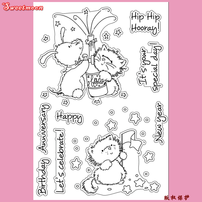 NEW YEAR ANNIVERSARY CELEBRATE Scrapbook DIY photo card account rubber stamp clear stamp transparent stamp card maker