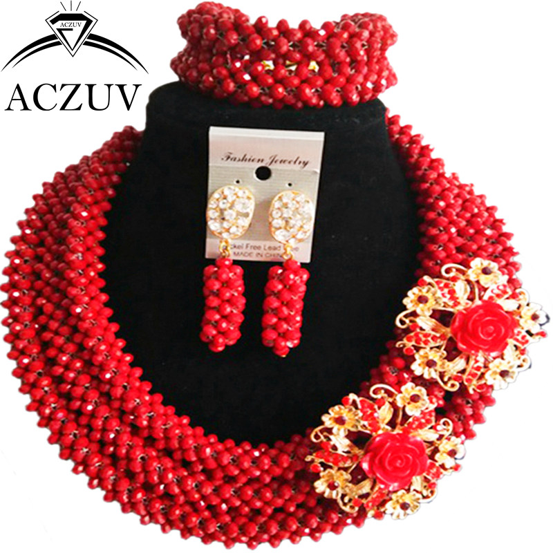 ACZUV Latest Opaque Red Crystal Necklace and Earrings Bracelet African Wedding Beads Nigerian Jewelry Set for Women B3R016 aczuv brand opaque red african jewelry set nigerian wedding beads art005
