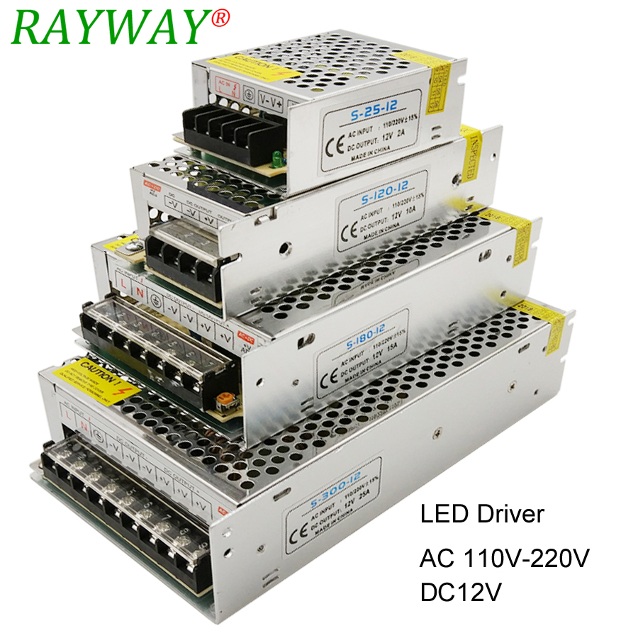 <font><b>Power</b></font> <font><b>Supply</b></font> <font><b>12V</b></font> For LED Strip AC 220V To DC <font><b>12V</b></font> Belt Transformer 10A 30A <font><b>25A</b></font> 3A 2A 1.<font><b>25A</b></font> LED Driver Charger Step Down Adapter image