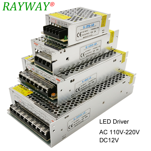 Power Supply 12V For LED Strip AC 220V To DC 12V Belt Transformer 10A 30A 25A 3A 2A 1.25A LED Driver Charger Step Down Adapter