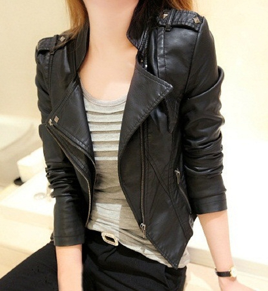 Uwback   Leather   Jacket Women 2018 New 3XL PU Women Basic Coats Plus Size Black Faux   Leather   Slim Women Outwear Jackets, TB1364