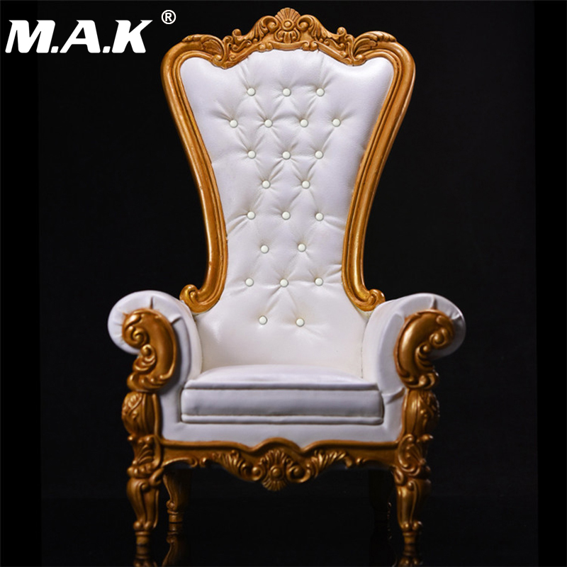1 6 Scale White European Queen Sofa Chair Models with Crystal for 12 Inches Figures Bodies
