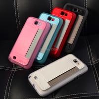 Funda trasera de cuero y TPU para Samsung Galaxy Note II 2 (N7100), carcasa de teléfono móvil con tarjeta enchufable de 5 colores, envío gratis