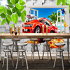 Pastoral Style Children Room Bedroom Wall Decoration Mural Wallpaper 3D Stereoscopic Window Cartoon Car Broken Wall Large Murals 3
