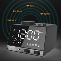 Bluetooth Alarm Clock Speaker with Dual USB Interface Charging Audio Creative Music Clock Display Radio
